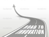 road to innovation words on highway road going up as an arrow